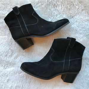 Vince Camuto Black Suede Hinge Booties Size 7M